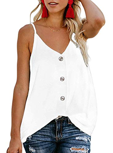 sesil Women's Button-Down V-Necks - Ice Silk Fabric V-Neck Camisole Tank Tops White