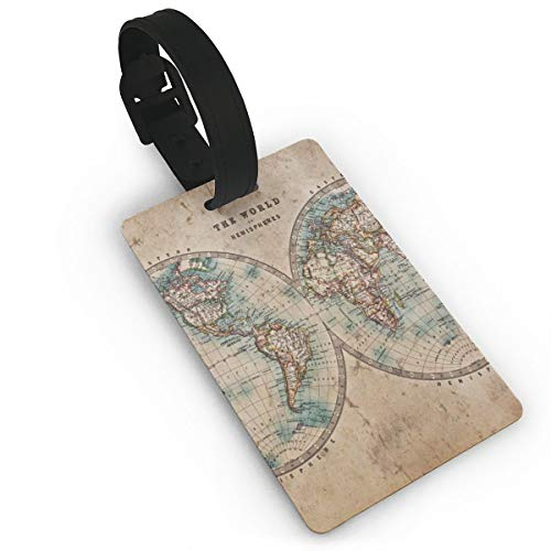 Luggage Tag Vintage World Map Artwork Turtle Pixar Travel ID Label Leather For Baggage Suitcase