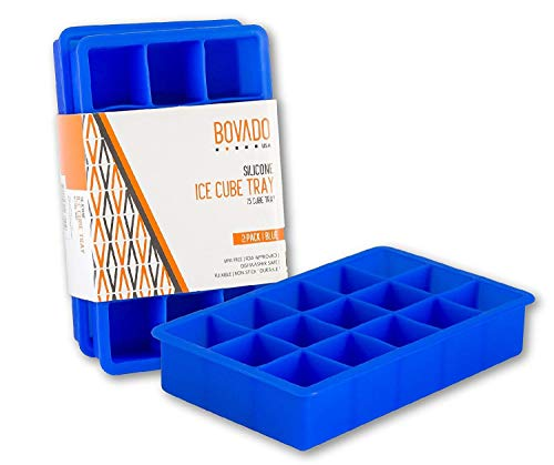 Silicone Ice Cube Trays - 15 Cubes Molds - Pack of 2 Flexible and Bendable Easy Release, Food Grade BPA Free Material - Blue - by Bovado USA
