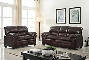 GTU Furniture New Faux Leather Sofa And Loveseat Living Room Furn