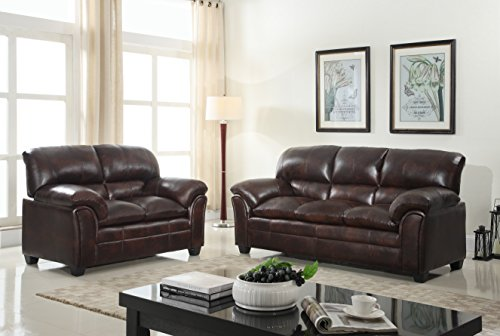 Loveseat Set Furniture - GTU Furniture New Faux Leather Sofa and Loveseat Living Room Furniture Set (Brown)