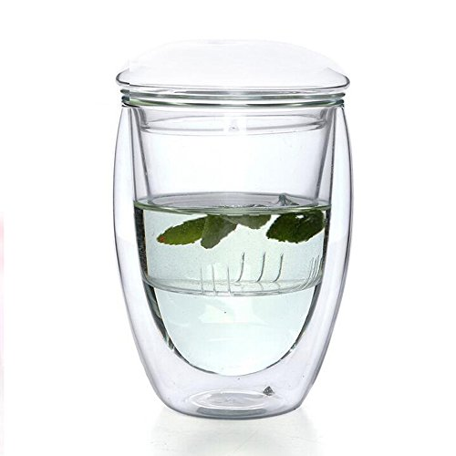 Double Wall Glass Tea Infuser Cup, Filtering Tea Maker Borosilicate Glass Mug, 12oz Insulated Glass Egg Shaped Teacup with Lid and Filter - Glass Egg Cup
