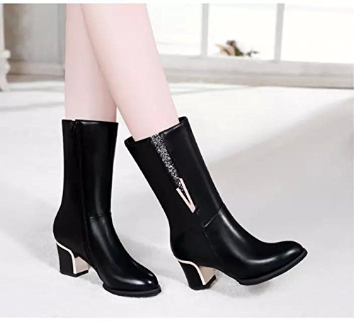 KHSKX-High Heels And Short Boots Female English Boots High Heels And Short Boots In The New Style Of Autumn And Winter Thirty-six lqGuxJ1fQ