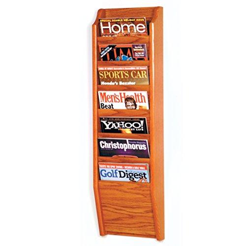 Wooden Mallet 7-Pocket Cascade Magazine Rack, Medium Oak