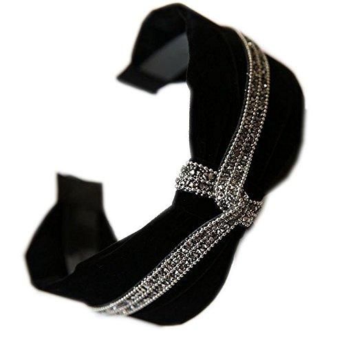 usongs New hair accessories black velvet winter luxury diamond hoop headband width toothed buckle head hoop by usongs (Image #4)