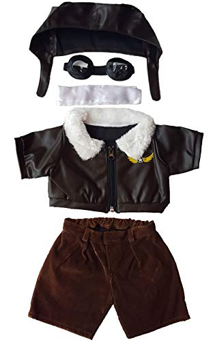 "Pilot Outfit with Goggles Teddy Bear Clothes Fits Most 14"" - 18"" Build-a-bear and Make Your Own Stuffed Animals  from Stuffems Toy Shop"