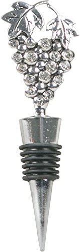 Home Essentials Jeweled Wine Bottle Stopper Silver Elegant Grape Shape