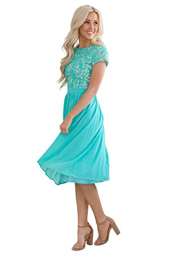 Olivia Lace & Chiffon Modest Dress in Turquoise, Tiffany Blue or Aqua - M, Modest Semi-Formal Dress, Prom or Bridesmaid Dress in -
