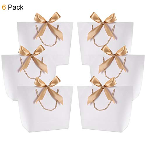 Gift Bags with Handles- WantGor 14.2x10.2x4.3inch Paper Party Favor Bag Bulk with Bow Ribbon for Birthday Wedding/Bridesmaid Celebration Present Classrooms Holiday(White, Large- 6 Pack)
