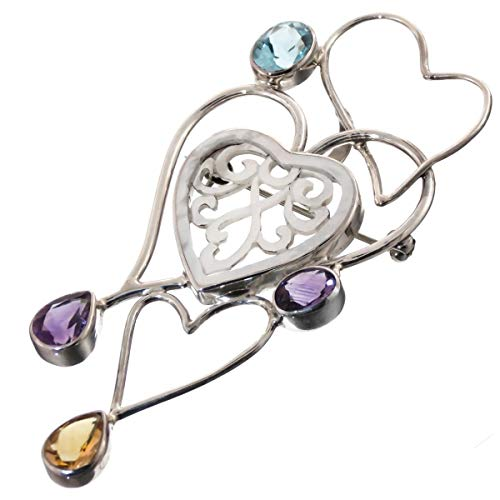 3 1/8'' Valentine Heart Mother of Pearl Shell Amethyst Silver Pendant & Brooch YE-1576