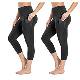Yoga Pants for Women with Pocket - High Waist Non See Through Yoga Leggings for Workout Athletic Runnig Cycling(Black X2,XS