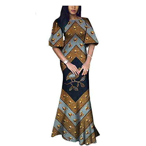 African Fabric Dresses Ball Gown Costume Flower Formal Dashiki Print midi Long Skirt 191 XL ()