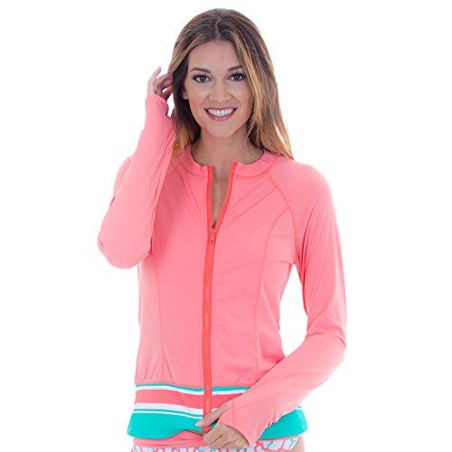 Cabana Life Women's Long Sleeve Zip up Rashguard - Medium - Coral Wide ()