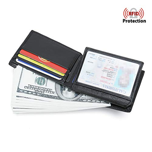 Mens Leather Wallet RFID Blocking Slim Bifold With Flip Multi-Card Case Holder ID Window Black ()