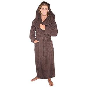 Arus Men's Monk Robe Style Full Length Long Hooded Turkish Terry Cloth Bathrobe