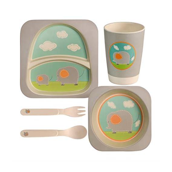 Bamboo Fiber Kids Crockery Set Having 4 Pieces Dining Set(Bowl,Glass,Fork,Spoon) - Eco Friendly Bamboo Car (4 PC)