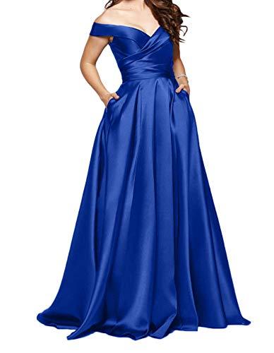 Rosa Satin Abendkleider Partykleider Charmant Rock Blau Promkleider Kurzarm Neu Royal Lang Festlichkleider A Linie Damen wA5qES