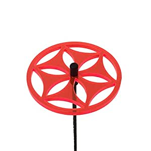 SunCatcher: Sun Wheel | 60mm / 2,36'' Ø fluorescent garden ornament | GLOWING GARDEN DECORATION on stick | innovative Home Decor for outdoor garden balcony pathway patio pots, Colour:fluorescent Red