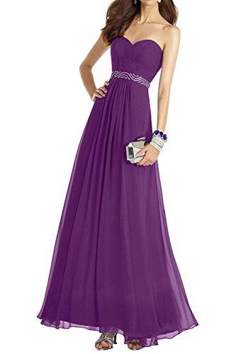 Lila Ballkleider Brautmutterkleider Chiffon Bodenlang Linie Kleider Elegant Braut mia Jugendweihe Abendkleider La A AWX7Fwnqx
