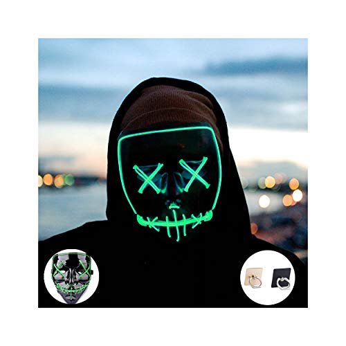 Light up Mask Led Mask Halloween Mask Led Mask Light up Mask Scary Mask for Festival Cosplay Halloween Costume Party (Green) (Purge Led Light)