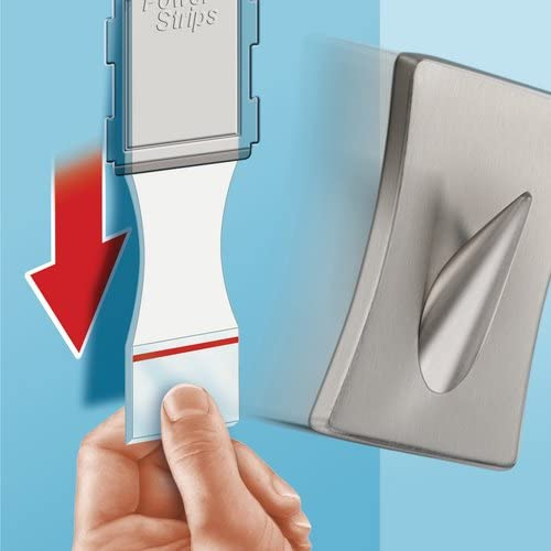 Tesa Hooks Brushed Stainless Steel Concave with Self Adhesive and Removable Powerstrips Large 1 Hook