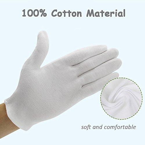 Bestgle White Gloves, 15 Pairs Soft Cotton Stretchable Work Glove for Coin Jewelry Silver Inspection, Doorman, Fire or Police Dress Glove Liner Uniform (Large) by Bestgle (Image #2)