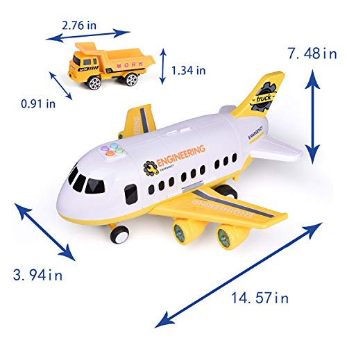 FUN LITTLE TOYS Electronic Transport Airplane Toys with Construction Die cast Car Toys Set, Construction Toys for 3,4,5 Year Old Boys