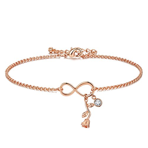 3UMeter Infinity Diamond Women Anklets Jewelry - Exquisite 18K Rose Gold Plating Brass Adjustable Chain with Rose Flower and Crystal Lucky Number 8 Anklets for Female and ()