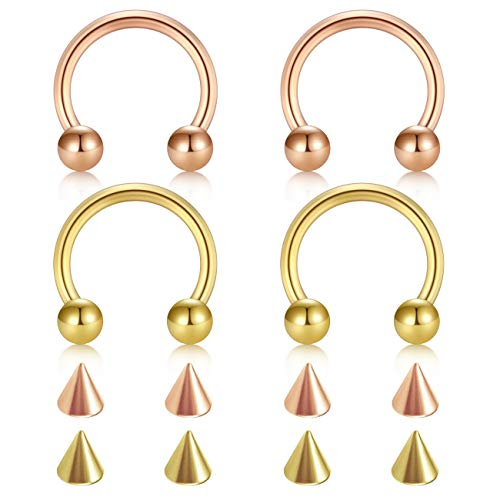 D.Bella 18G Surgical Steel Nose Septum Horseshoe Hoop Eyebrow Lip Navel Belly Nipple Piercing Ring 10mm Helix Tragus Daith Rook Earrings w Replacement Spikes - Gold Mens Horseshoe