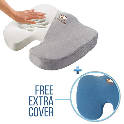 Coccyx Memory Foam Seat Cushion for Office Desk Chair, Car, Truck and Wheelchair - Pain Relief for Tailbone, Sciatica & Butt Injury - Lower Back & Hip Support Pillow – Orthopedic Sitting Comfort Pad