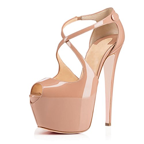 Joogo Open Toe Platform Stilettos Ankle Corss Strap Buckle Snap High Heels Wedding Pumps Nude Size 5 -