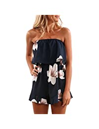 Kingfansion Women Off Shoulder Romper Strapless Floral Print Beach Shorts Jumpsuit