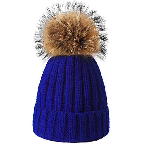 Yetagoo Kids/Adult Winter Knit Beanie Hat Large Real Raccoon Fur Pom Pom Womens Kids Bobble Hat (Kids, Blue)