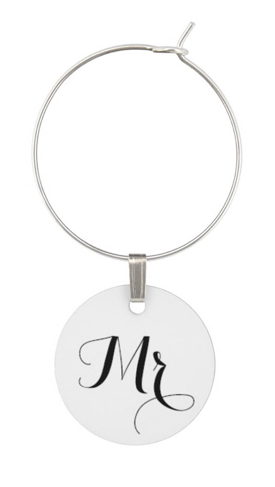 TJ Formal Wine Charms Wedding Gift - Mr. and Mrs. Set - Rings Hoops Tags Shower Favors by TJ Formal (Image #2)