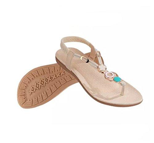 T Bohême Flops Strap Blanc YOUJIA Sandales Sandales Thongs Élastique Strass Femmes Été Romaines Slipper Toe Clip Flip xU8w6v