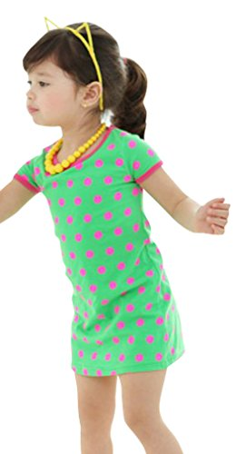Little Kids Children Short Sleeve Polka Dots Bright Color One Piece Dress Green (Green Fairy Dress)