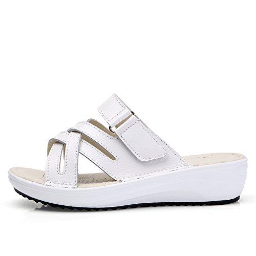 Mules Ouvert Plateforme RDJM Sandales Sabots En Talons Pantoufles À Sandales Bout Femme À Cuir Sandales White Chaussures À EB7BqwUz
