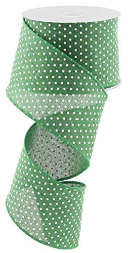 Patty Pink Ribbon - Emerald Green White Raised Swiss Polka Dots Wired Ribbon (2.5 Inches x 10 Yards)
