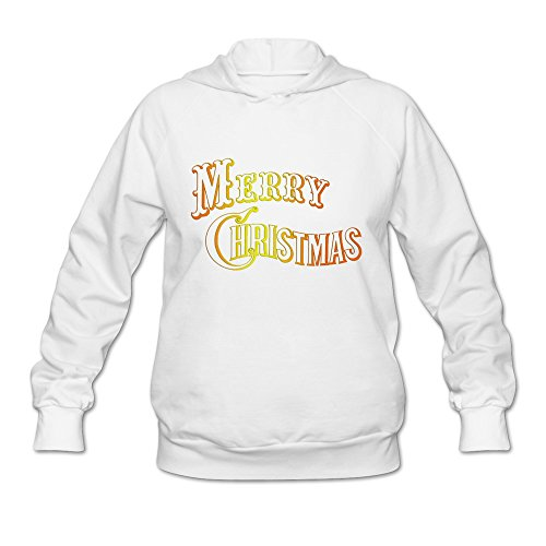 Merry Christmas Red And Orange Color Very Casual White Long Sleeve Sweatshirt For Women Size XL (Lil Christmas Wayne Merry)