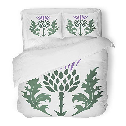 Emvency Decor Duvet Cover Set King Size Green Flower Thistle Onopordum Acanthium Scottish White Purple Scotland 3 Piece Brushed Microfiber Fabric Print Bedding Set Cover ()