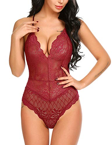 Avidlove Women Teddy Lingerie One Piece Babydoll Mini Bodysuit Style2-red Small