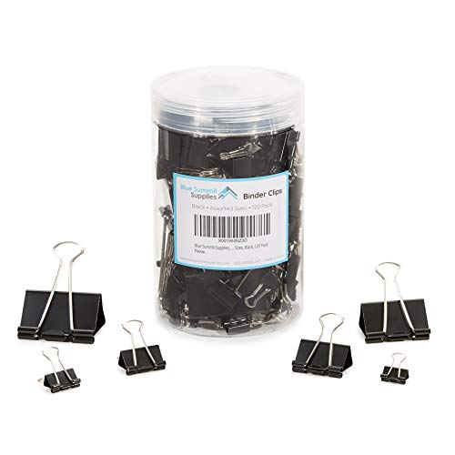 (Blue Summit Supplies Assorted Binder Clips, Black Binder Clip Assortment with 6 Different Sizes, 120 Pack of Office Clips for Home, Office, or)