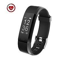 Monitor di frequenza cardiaca di inseguimento di idoneità Yuanguo Sport Smart Wristband IP67 inseguitore di attività portatile impermeabile con passi e calorie bruciata e contatore di distanza Pedometro di monitoraggio del sonno per Android o telefono IOS