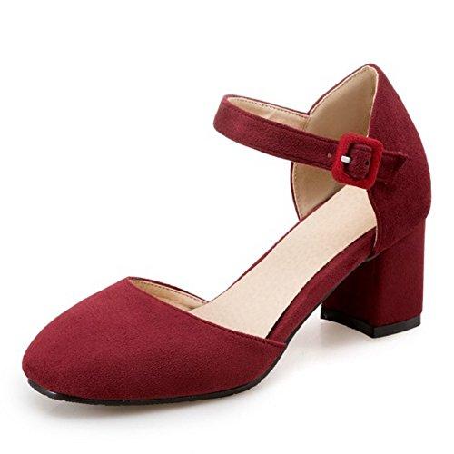COOLCEPT Damen Mode Knochelriemchen Sandalen Blockabsatz Geschlossene Schuhe Gr Rotwein