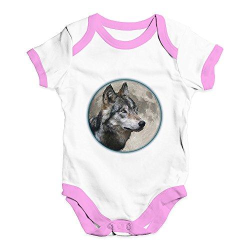 TWISTED ENVY Cute Infant Bodysuit Onesie Wolf Moon White Pink Trim 3-6 Months ()
