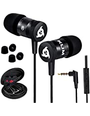 KLIM Fusion Earbuds With Mic Audio - Long-Lasting Wired Ear Buds - Innovative: In-Ear With Memory Foam Earphones With Microphone - 3.5Mm Jack - New Earphone 2021 Version - Black