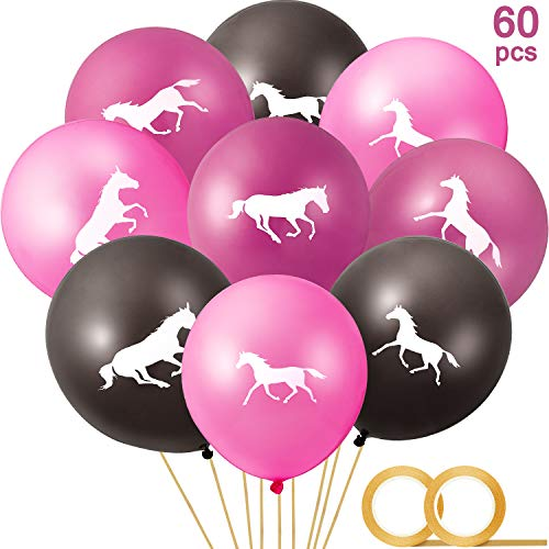 Horse Themed Parties (60 Pieces Horse Latex Balloons Cowgirl Balloons and 2 Rolls Gold Balloon Ribbon for Cowboy Party Favor Horse Themed Party Baby Shower Birthday Party)