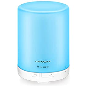URPOWER 300ml Aroma Essential Oil Diffuser Ultrasonic Air Humidifier with AUTO Shut off and 6-7 HOURS Continuous Diffusing - 7 Color Changing LED Lights and 4 Timer Settings for Home SPA Baby Room