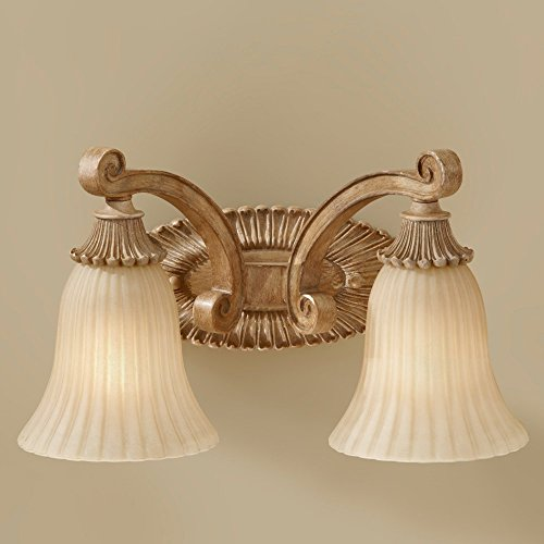 Murray Feiss VS18802-MAW Blaire Collection 2-Light Vanity Fixture, Medium Aged Wood Finish with India Scavo Glass