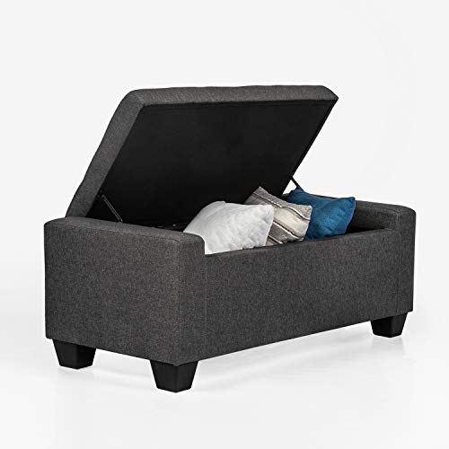Adeco Ottoman Bench with Storage Rectangular Couch Sofa- 48 Inches Long Dark Gray